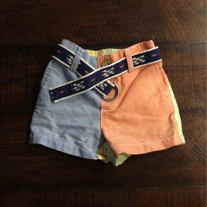 Ralph Lauren Color Block Belted Shorts